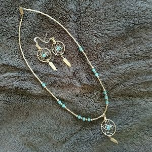 Blue & Silver dream catcher earrings and necklace